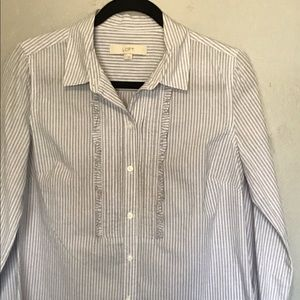 Ann Taylor LOFT Long Sleeve Pin Striped Top Small